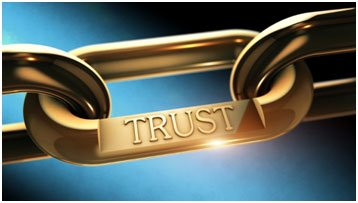 strong gold chain with one link stamped TRUST